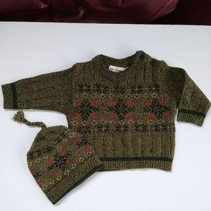 2pc Set Holiday Sweater & Winter Hat Bundle